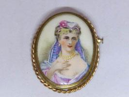 Broche vintage en porcelaine de Limoges / Vintage French Limoges porcelain brooch