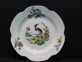 Petites assiettes en porcelaine de Limoges décor oiseau / Small Limoges porcelain plates with bird decoration