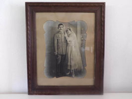 Grande photographie ancienne de mariage encadrée / Large vintage framed wedding photograph