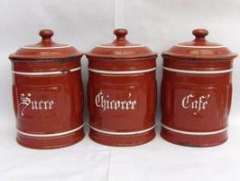 Pots à épices en métal émaillé / Enamel spice pots