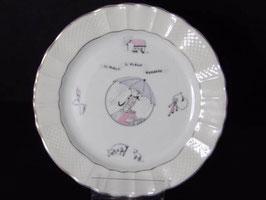 """Assiette parlante """"Il pleut il pleut bergère"""" porcelaine de Limoges / Limoges porcelain plate """"Il pleut il pleut bergère"""""""