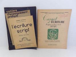 """Lot de 2 cahiers d'écriture script / Lot of 2 french booklets """"Ecriture script"""""""