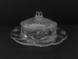 Beurrier ancien  en verre / Old Glass butter dish