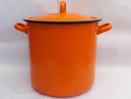 Faitout ancien orange en métal émaillé / Vintage orange french enamel cooking pot