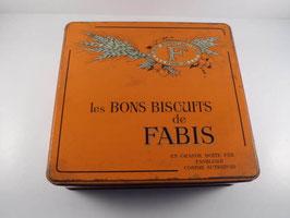 Grande boite ancienne en fer orange Biscuits Fabis / Large vintage french Fabis biscuit tin