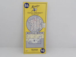 Carte routière Michelin n°84 Marseille-Menton 1963 / French Marseille-Menton Michelin 1963 road map