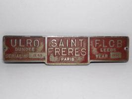 """Plaque d'identification industrielle en métal laquée """"Saint Freres Paris"""" /  French Machine identification metal plate """"Saint Freres Paris"""""""