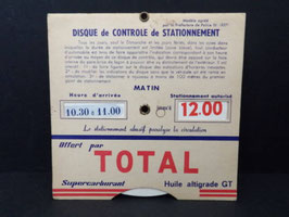 Ancien disque de stationnement Total / Vintage french Total parking disc