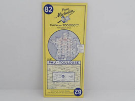 Carte routière Michelin n°82 Pau-Toulouse 1961 / French Pau-Toulouse 1961 Michelin road map