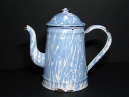 Verseuse à café en métal émaillé bleue et blanche / French Blue and white enamel coffee pot