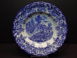 Assiettes creuses bleues publicitaires vintage BP / French vintage blue BP publicity shallow bowls