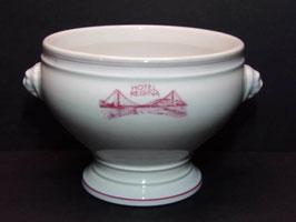 """Soupière en porcelaine blanche de Mehun """"Hôtel Regina » / « Hôtel Regina » Mehun white porcelain soup tureen"""