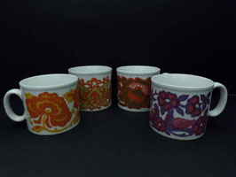 Lot de 4 tasses anglaises vintage Royal Alma / Lot of 4 Vintage Royal Alma cups