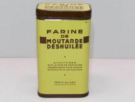 Boite métal ancienne farine de moutarde déshuilée / Oiled mustard flour old tin
