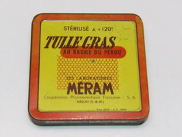 Boite métal Tulle gras au baume du Pérou Meram / Tulle with Peruvian balsam Meram tin