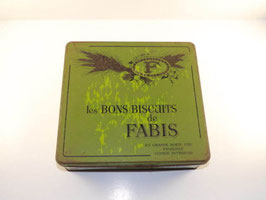Grande boite verte ancienne en fer biscuits Fabis / Large vintage french Fabis biscuit  tin green