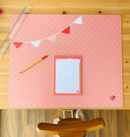 Schreibtischunterlage Mädchen oder Junge Wimpel rosa petrol 60x50 Millimi