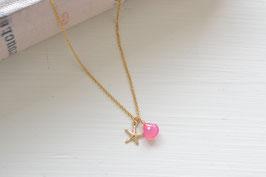 ピンクカルセドニーとスターフィッシュのネックレス