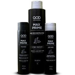 QOD max PRIME S-FIBER Brazilianisches Keratin Hair Treatment 4er KIT Blow Dry + GRATIS: QOD Argan Öl 60 ml