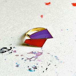 Doppelkonvex Ring Lila/Lipstick Red