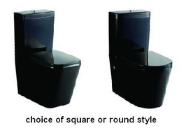 Square or Round Black Gloss Ceramic Wall Faced/Back to Wall SOFT CLOSE seat P or S Trap Toilet Suite
