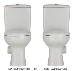 Modern Liwa Ceramic Skew Closed Coupled Toilet Suite - Left or Right Skew Trap, set out skew trap 185mm