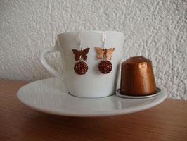 Nespresso-Kapseln Silber Ohrringe Braun