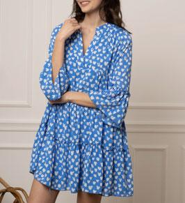 Robe bleu imprimé taches blanche coupe babyboll