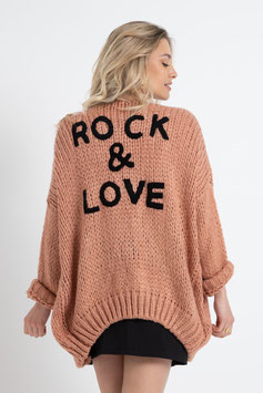 Gilet en maille rock & love rose