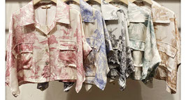 Top crop chemise toile de jouy