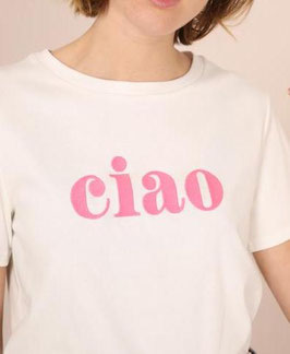 "Tee shirt ""ciao"" rose"