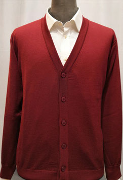 Cardigan bottoni merino bordeaux