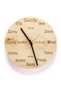 """Orologio da parete in legno di cirmolo . rotondo """"dialetto"""""""