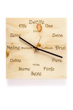 """Orologio da parete in legno di cirmolo . angolare """"dialetto"""""""