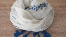 Schal, Inkamuster mit Quasten, blau