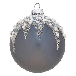GreenGate Weihnachtskugel Flora pearl dark grey