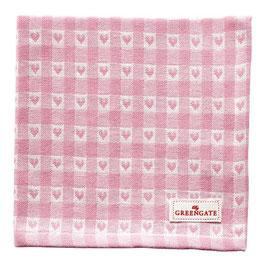 GreenGate, Stoffserviette, Heart petit pale pink