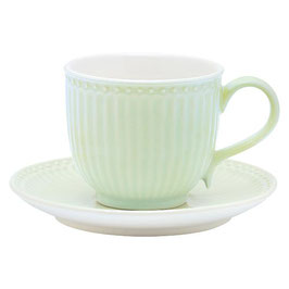 GreenGate, Tasse mit Unterteller, Alice, pale green