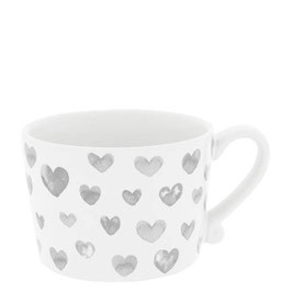 Bastion Collections, Tasse Mug, Hearts watercolor, grey