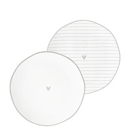 Bastion Collections Teller Side Plate Heart grey