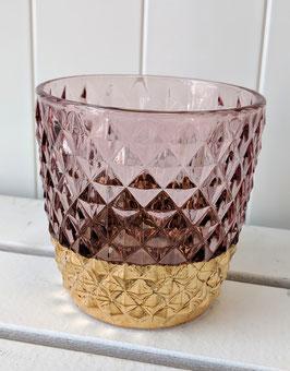 Kerzenhalter Rautenmuster rosa mit Goldrand