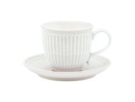 GreenGate, Tasse mit Unterteller, Alice, white