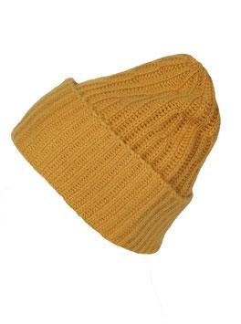 Mütze 100% Kaschmir senfgelb