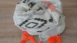 Schal, Inkamuster mit Quasten, anthrazit/ neon-orange