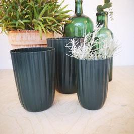 Madleys Blumentopf Metall dunkelgrün abgerundet