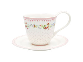 GreenGate Tasse mit Untertasse Sinja white **LIMITED EDITION**