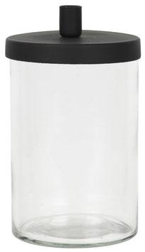 Ib Laursen, Kerzenhalter Glas mit Deckel, schwarz für dünne Kerzen