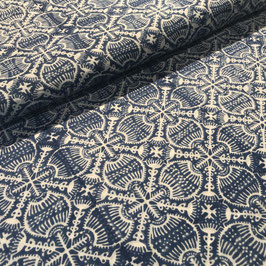 Block Print Fabric ANJOU Dark Blue - Starting Price per 0.5 Meter US 8.80