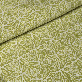 Block Print Fabric MANOU Yellow-Green - Starting Price per 0.5 Meter US 8.80