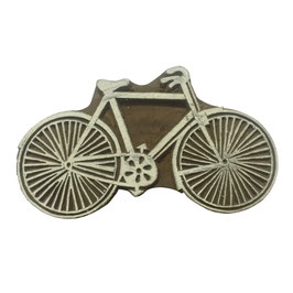 Block Print Stamp Bicycle big M 143